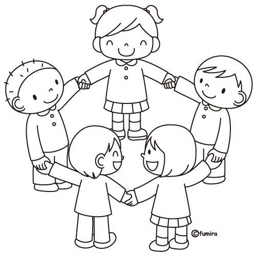 disegni da colorare di bambini in girotondo