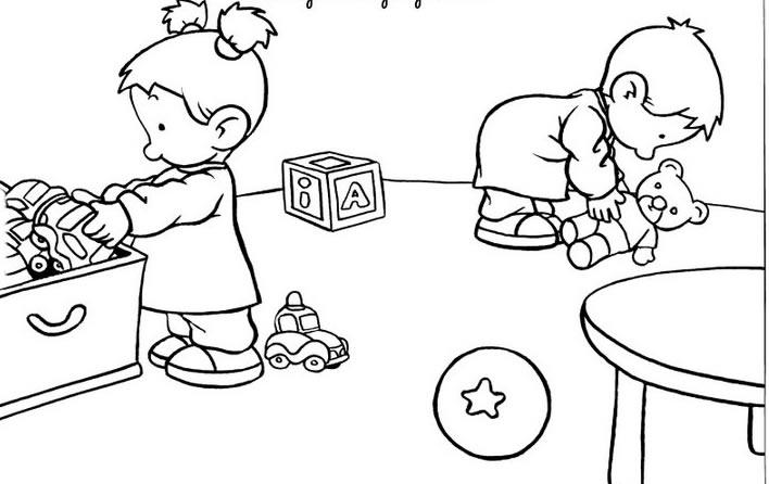 disegni da colorare bambini che riordinano