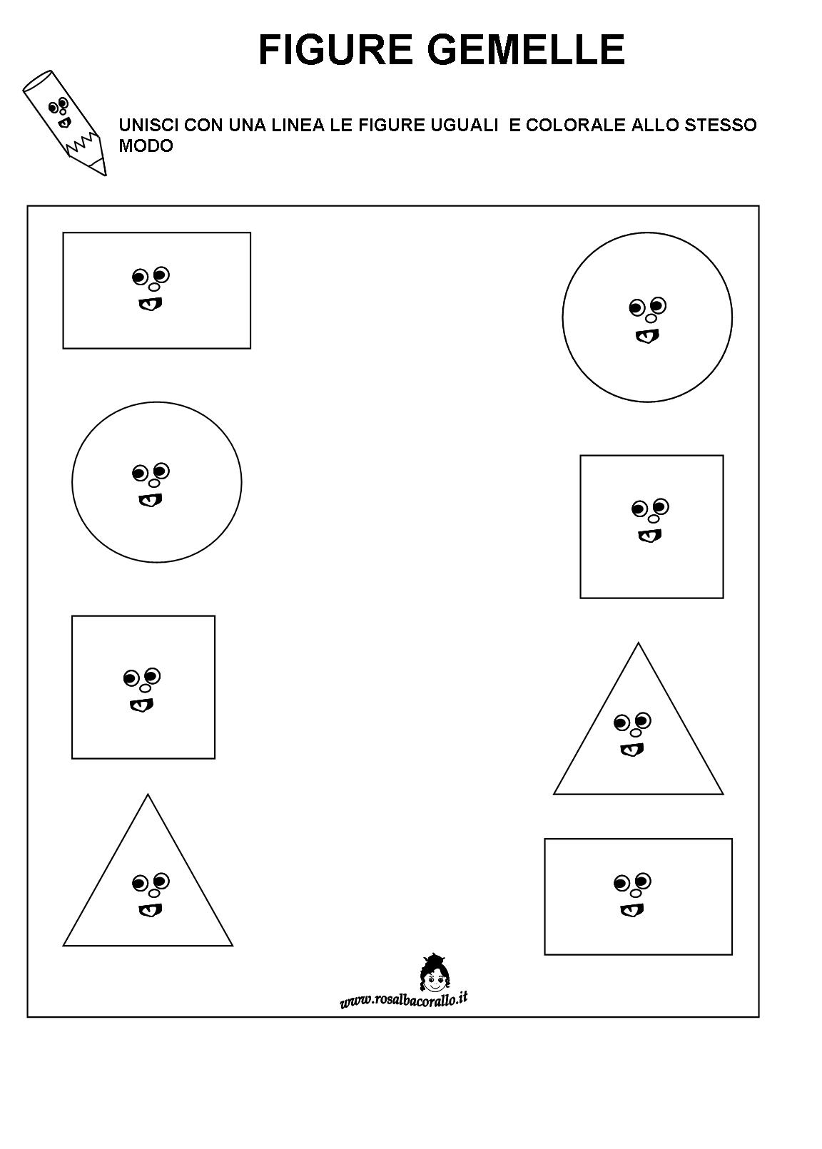 Molto Schede didattiche Figure geometriche per bambini di 4/5 anni NA28