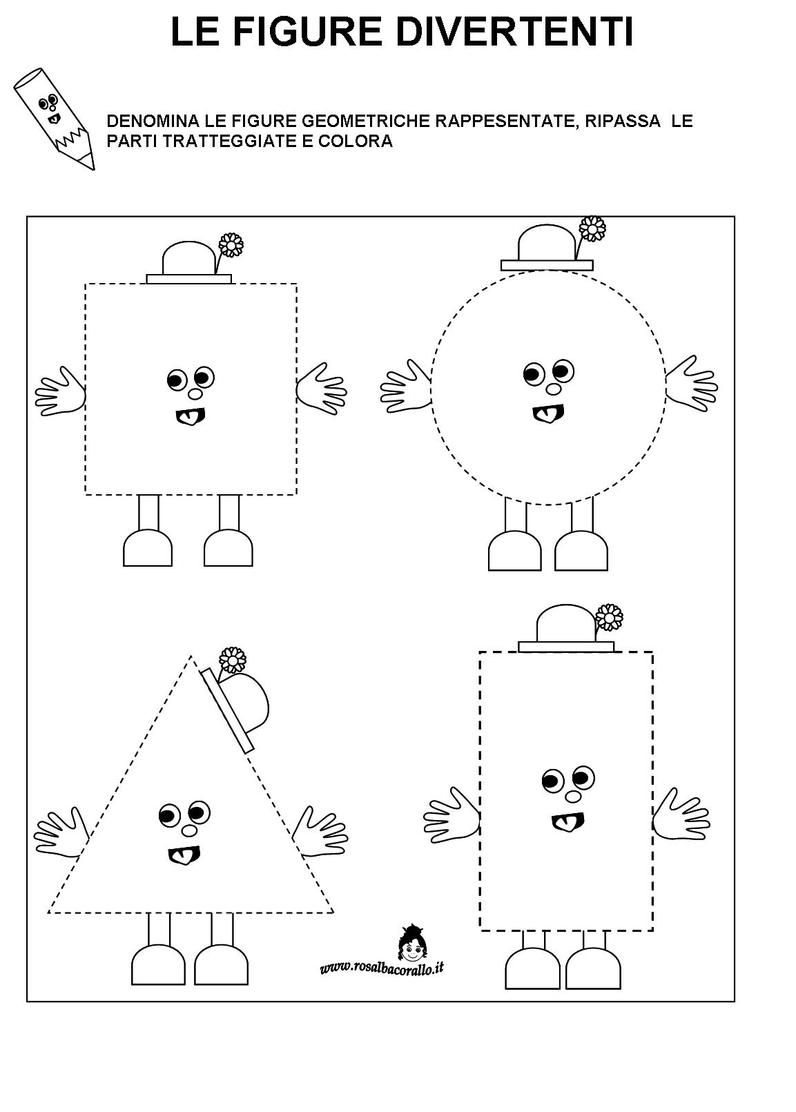 Eccezionale Schede didattiche Figure geometriche per bambini di 4/5 anni UU36