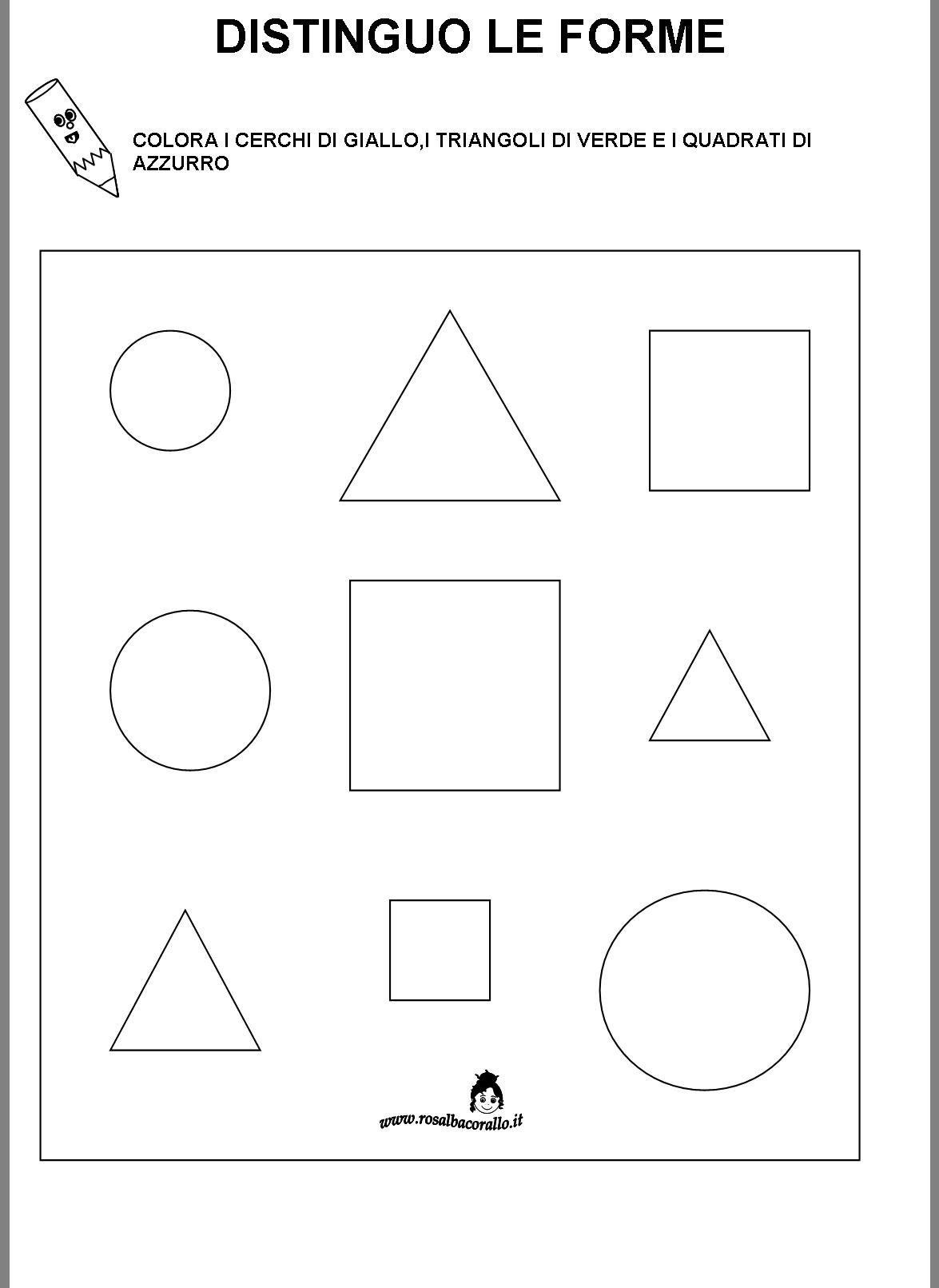 Favoloso Schede didattiche Figure geometriche per bambini di 4/5 anni JP04