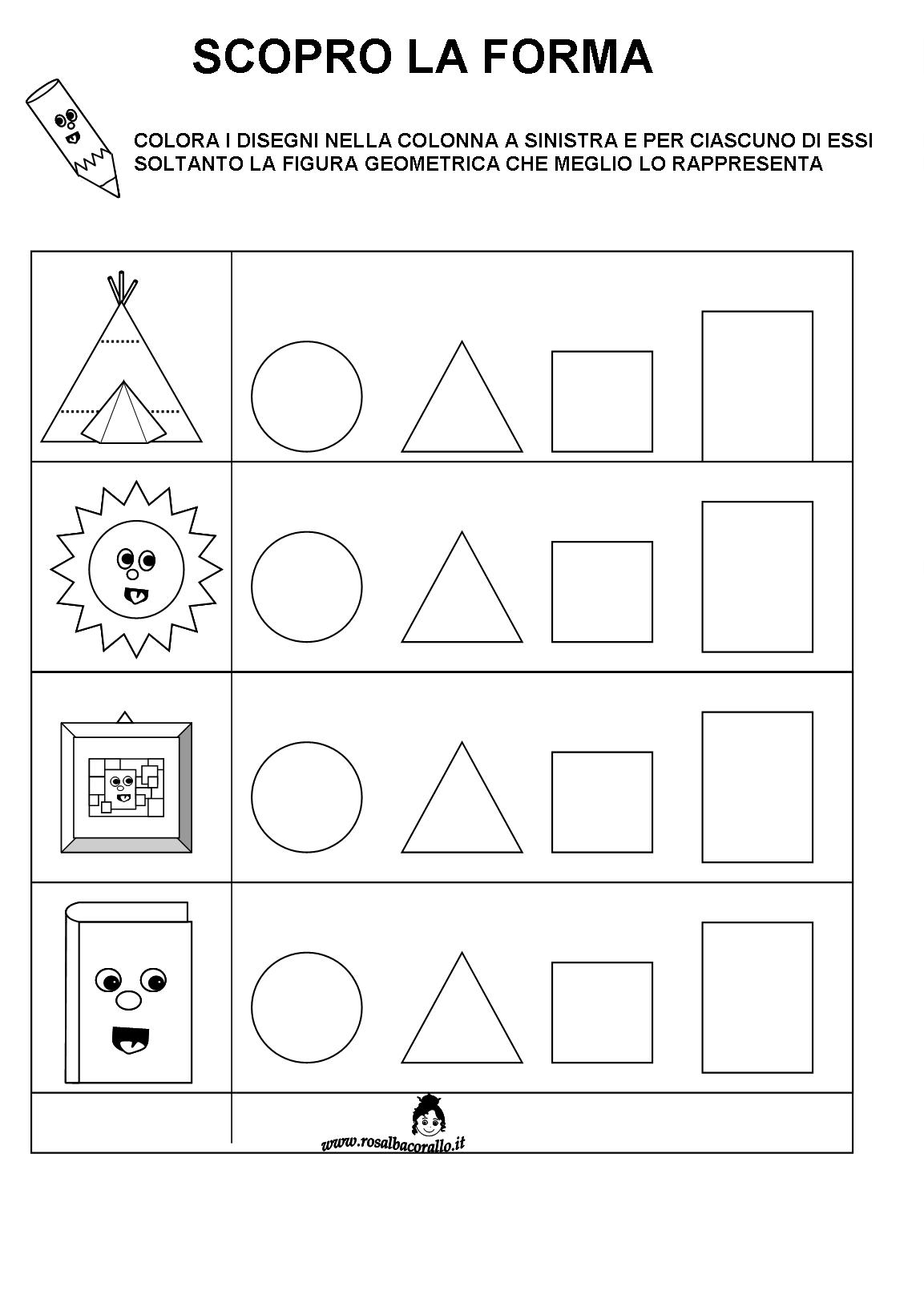 Ben noto Schede didattiche Figure geometriche per bambini di 4/5 anni KD86